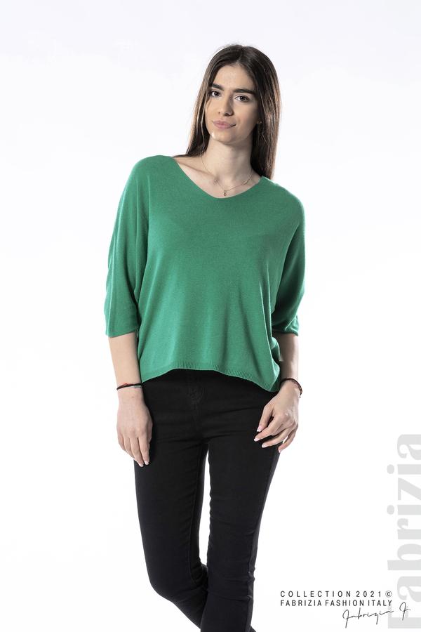 Едноцветна блуза фино плетиво зелен 3 fabrizia