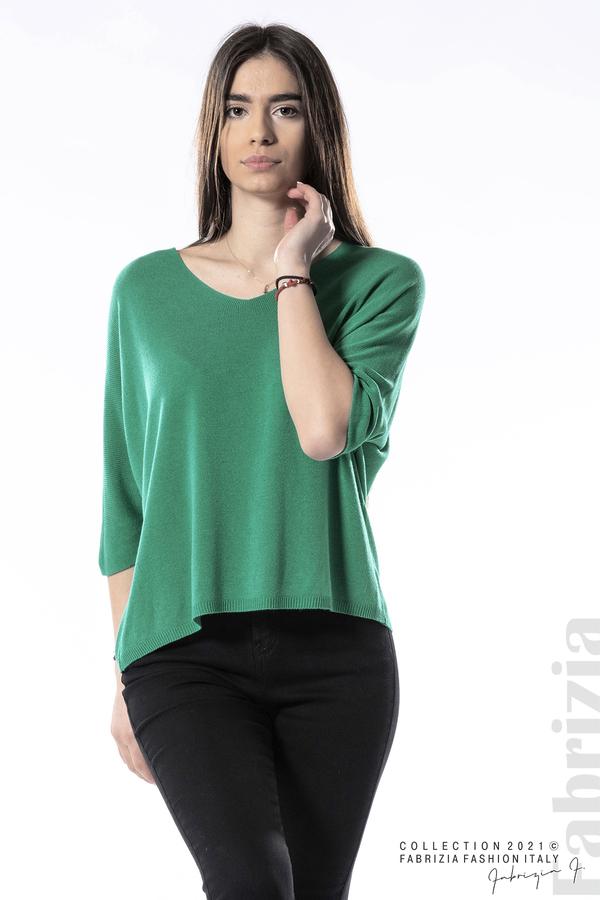 Едноцветна блуза фино плетиво зелен 2 fabrizia