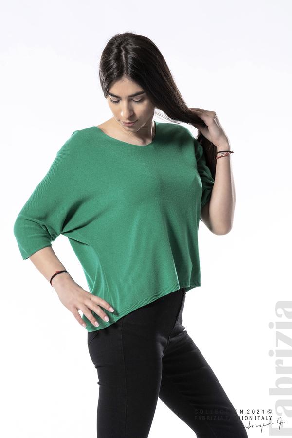 Едноцветна блуза фино плетиво зелен 1 fabrizia