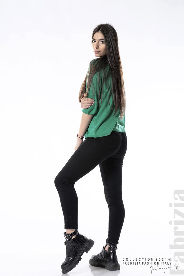 Едноцветна блуза фино плетиво зелен 4 fabrizia