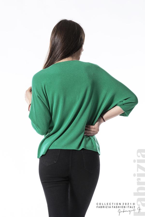 Едноцветна блуза фино плетиво зелен 5 fabrizia