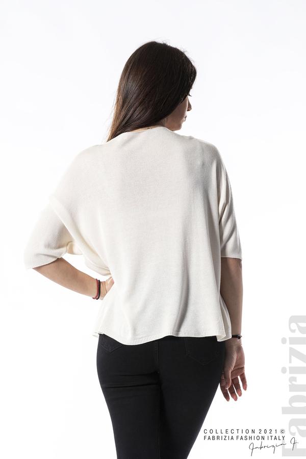 Едноцветна блуза фино плетиво бежов 5 fabrizia