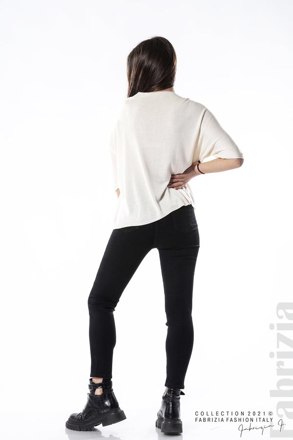 Едноцветна блуза фино плетиво бежов 4 fabrizia