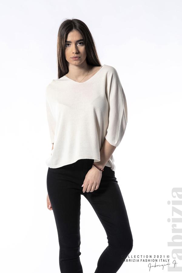 Едноцветна блуза фино плетиво бежов 1 fabrizia