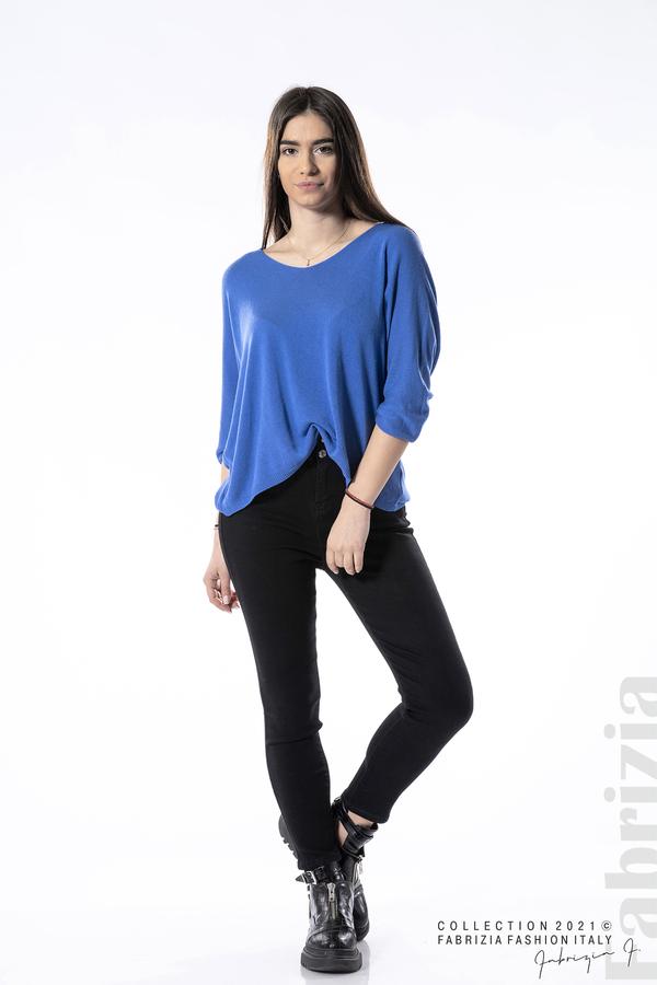 Едноцветна блуза фино плетиво син 3 fabrizia