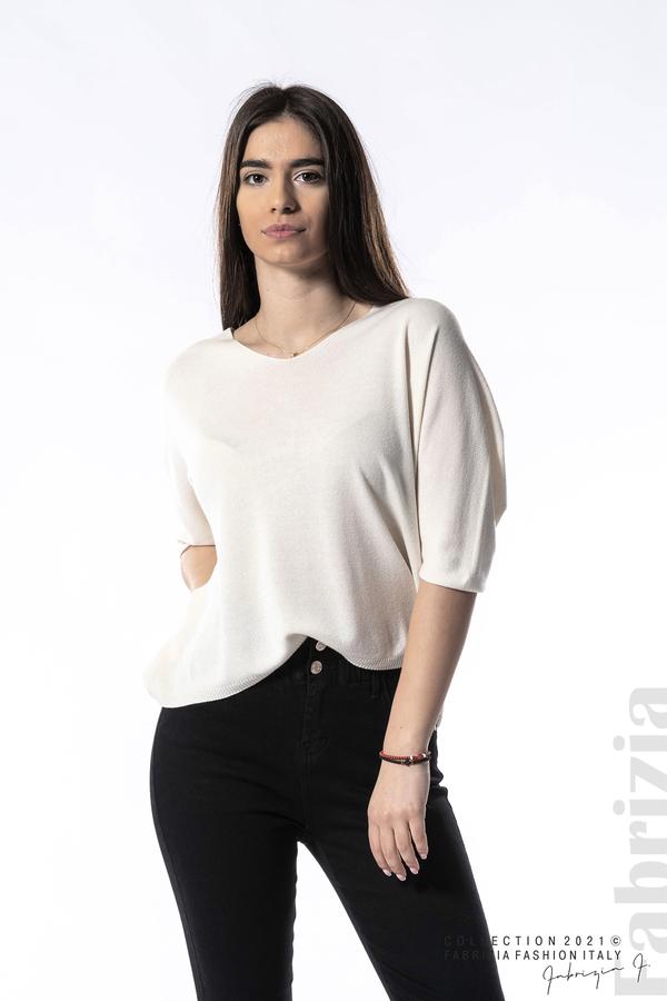 Едноцветна блуза фино плетиво бежов 3 fabrizia