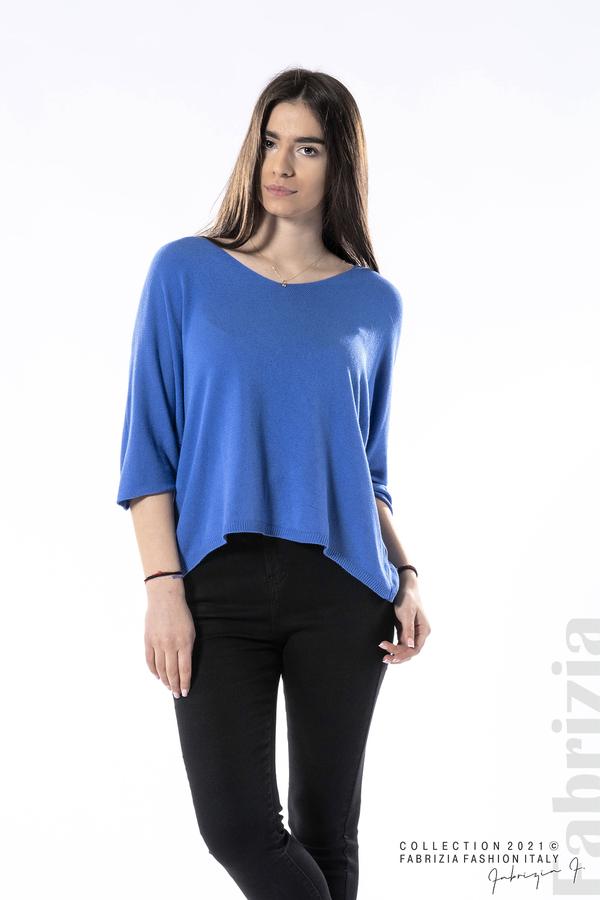 Едноцветна блуза фино плетиво син 1 fabrizia