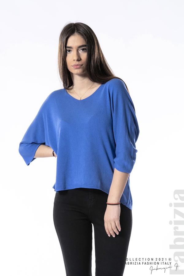 Едноцветна блуза фино плетиво син 4 fabrizia