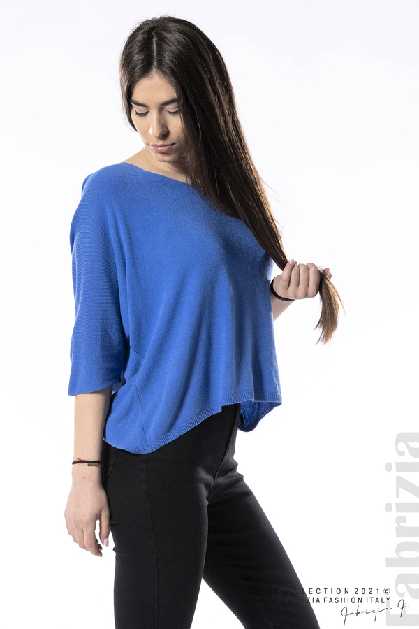 Едноцветна блуза фино плетиво син 2 fabrizia