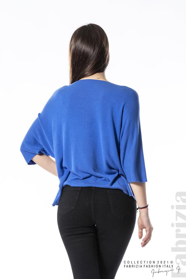 Едноцветна блуза фино плетиво син 5 fabrizia