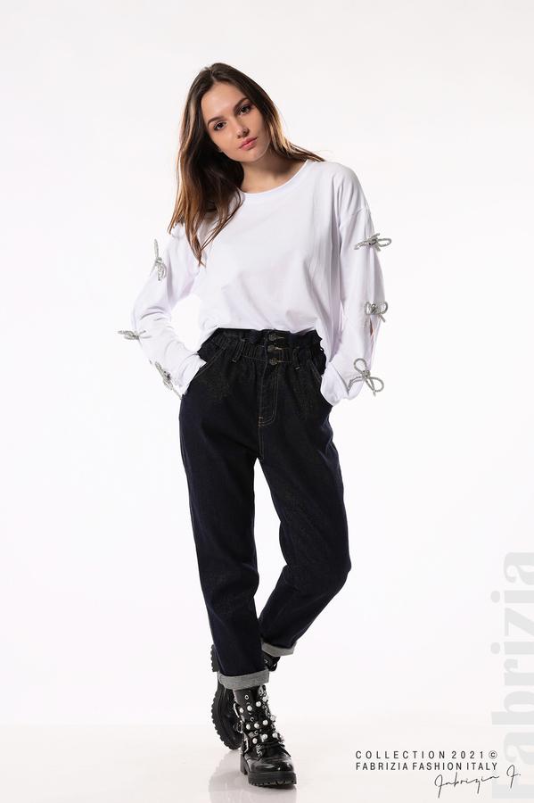 Блуза с брошки-панделки на ръкавите бял 5 fabrizia