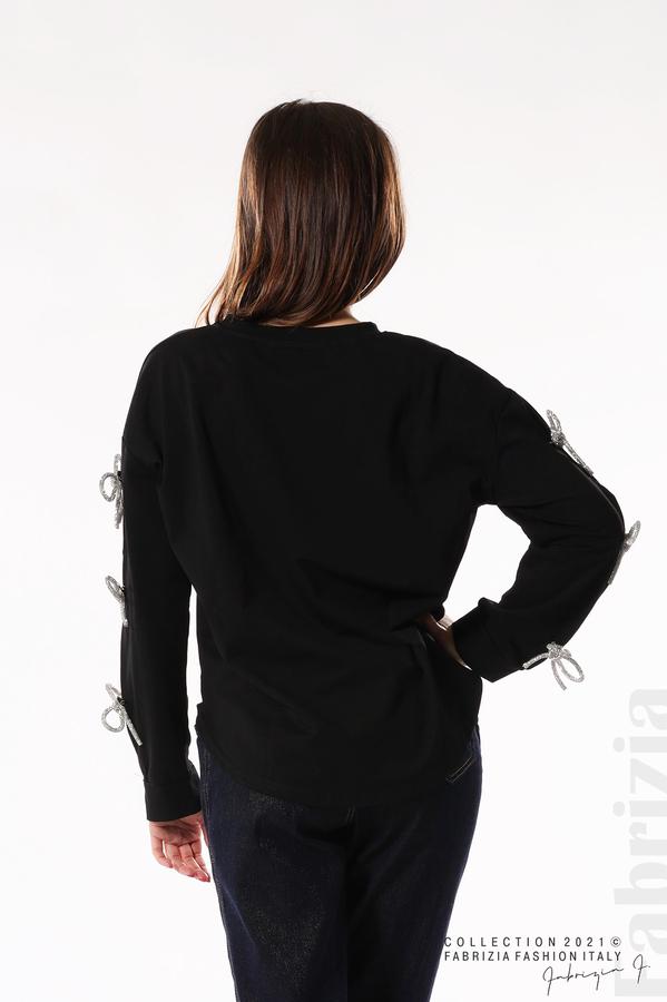 Блуза с брошки-панделки на ръкавите черен 5 fabrizia