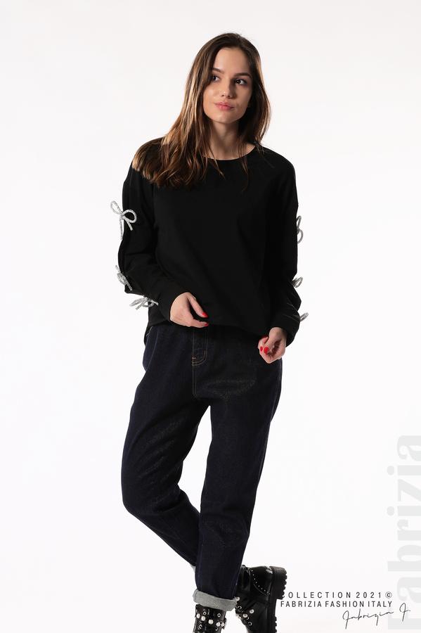 Блуза с брошки-панделки на ръкавите черен 1 fabrizia