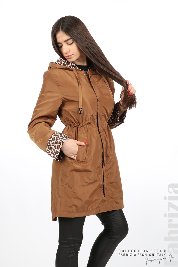Дамски шлифер с леопардов акцент кафяв 3 fabrizia