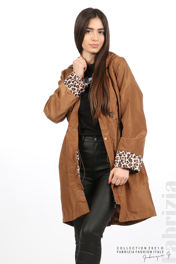 Дамски шлифер с леопардов акцент кафяв 4 fabrizia