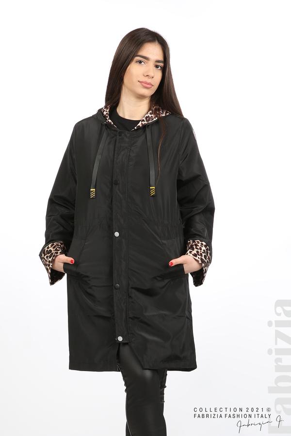Дамски шлифер с леопардов акцент черен 1 fabrizia