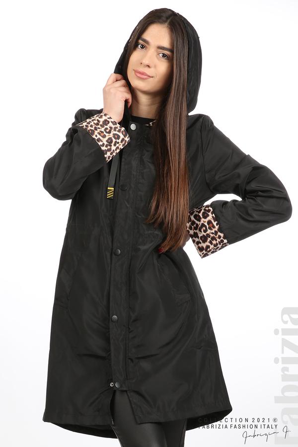 Дамски шлифер с леопардов акцент черен 4 fabrizia