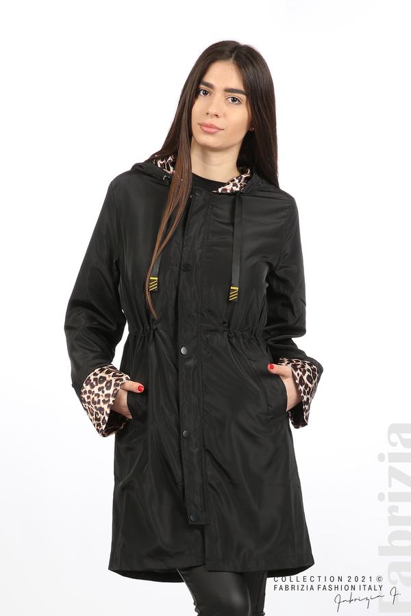 Дамски шлифер с леопардов акцент черен 5 fabrizia