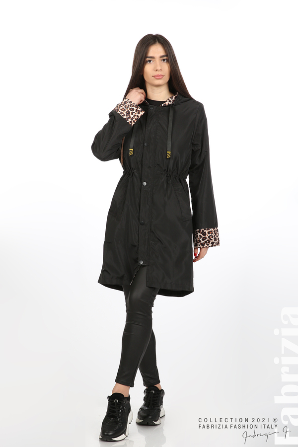 Дамски шлифер с леопардов акцент черен 3 fabrizia
