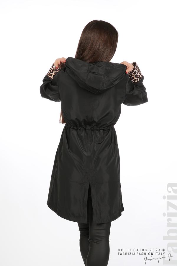 Дамски шлифер с леопардов акцент черен 6 fabrizia