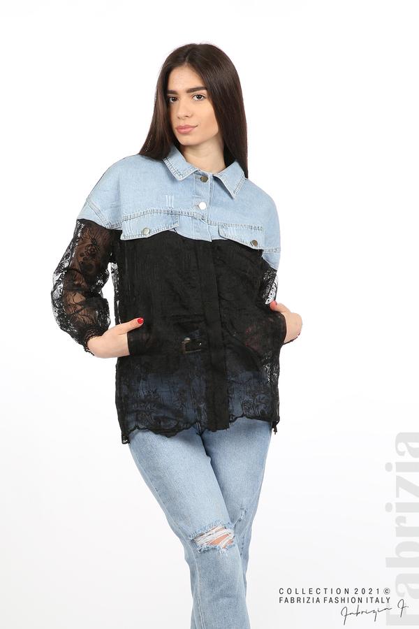 Комбинирана риза с черен тюл черен 3 fabrizia