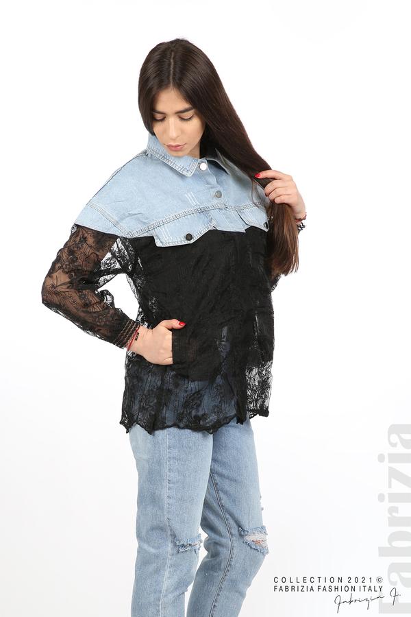 Комбинирана риза с черен тюл черен 4 fabrizia