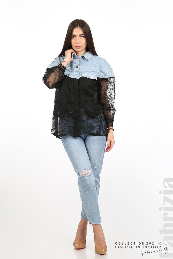 Комбинирана риза с черен тюл черен 5 fabrizia