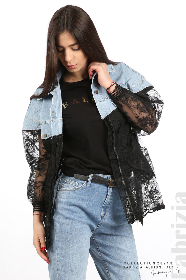 Комбинирана риза с черен тюл черен 7 fabrizia