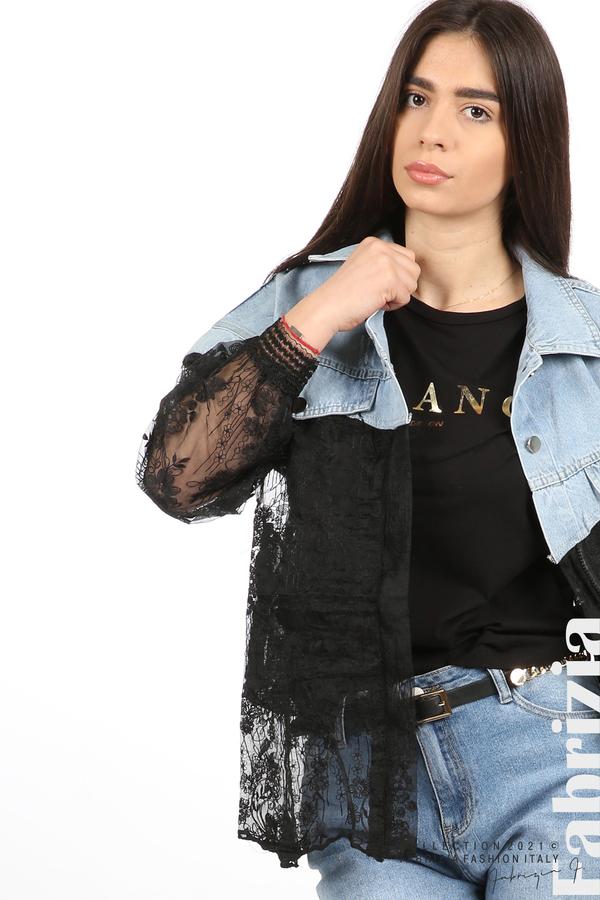 Комбинирана риза с черен тюл черен 1 fabrizia