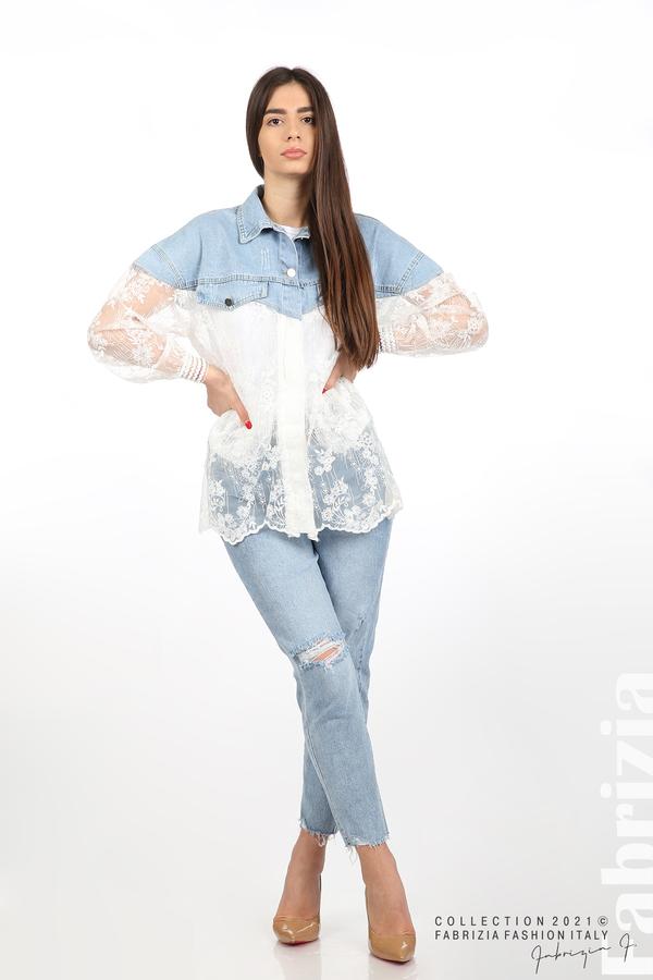 Комбинирана риза с бял тюл бял 5 fabrizia