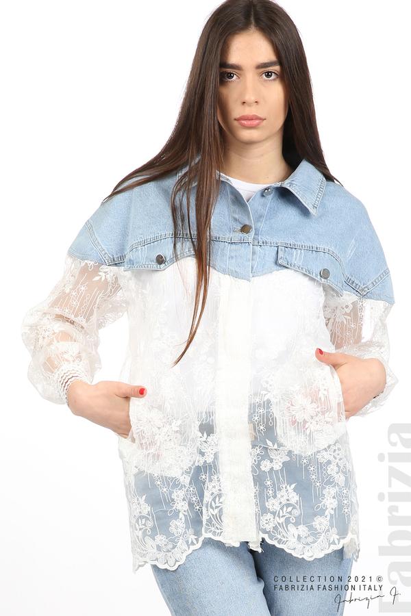 Комбинирана риза с бял тюл бял 2 fabrizia