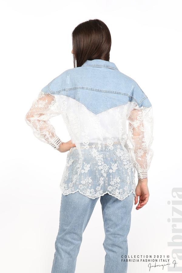Комбинирана риза с бял тюл бял 8 fabrizia