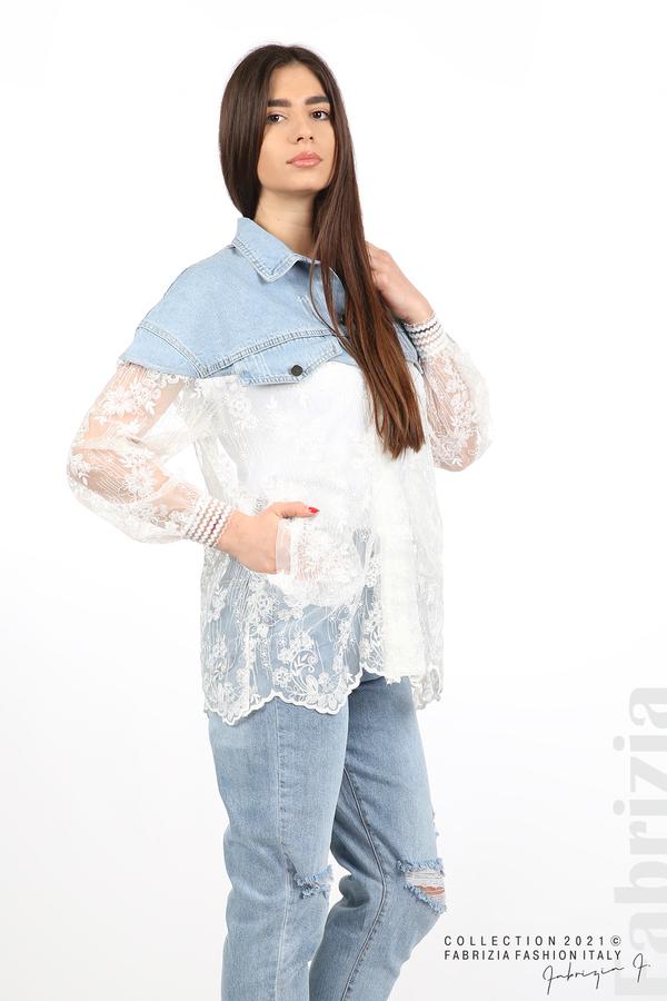 Комбинирана риза с бял тюл бял 4 fabrizia