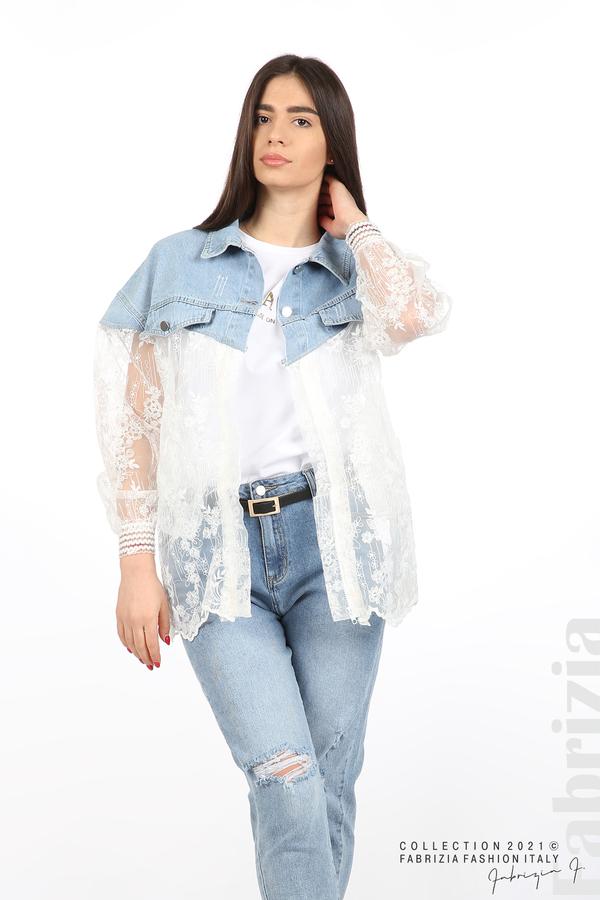 Комбинирана риза с бял тюл бял 6 fabrizia