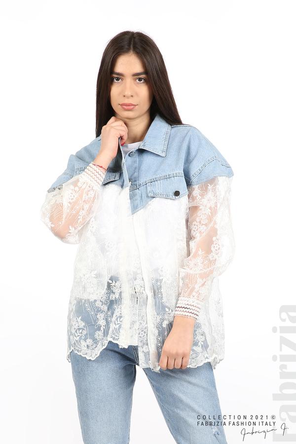 Комбинирана риза с бял тюл бял 7 fabrizia