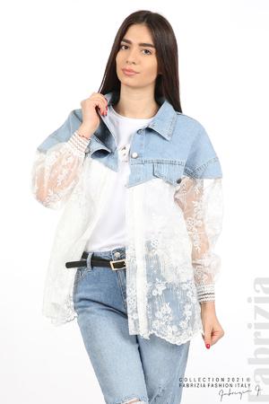 Комбинирана риза с бял тюл