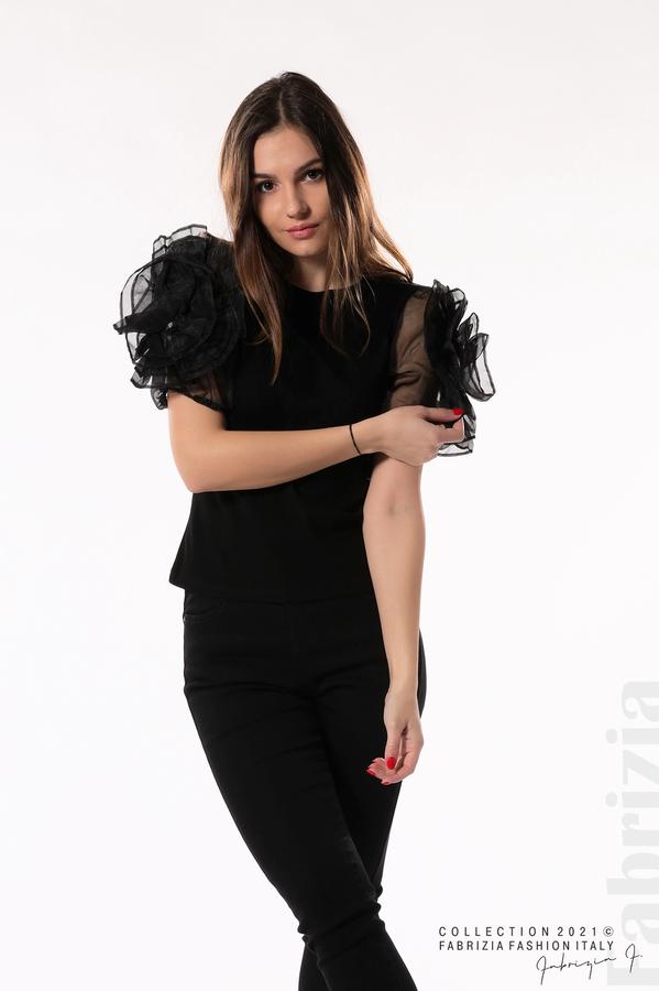 Памучна блуза с ръкави тюлени цветя черен 5 fabrizia