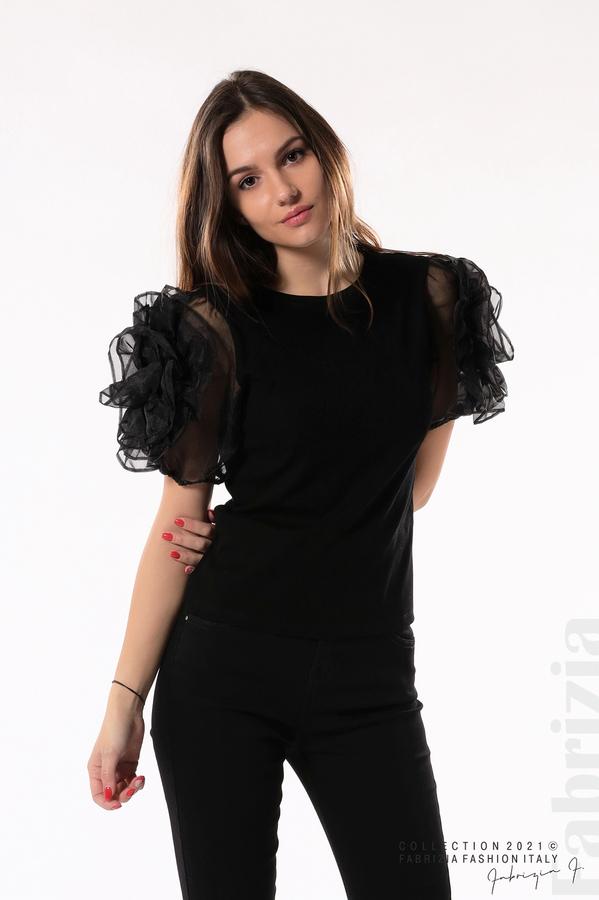 Памучна блуза с ръкави тюлени цветя черен 1 fabrizia