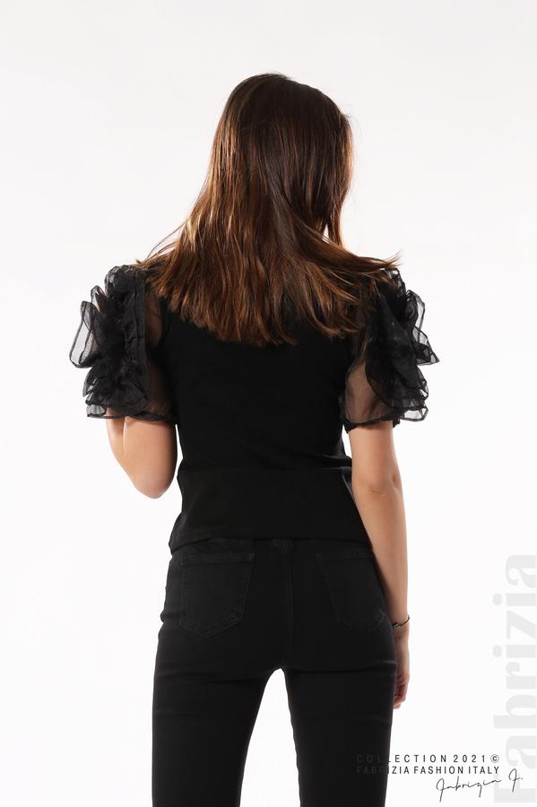 Памучна блуза с ръкави тюлени цветя черен 6 fabrizia