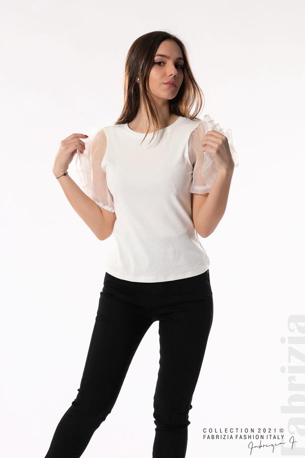 Памучна блуза с ръкави тюлени цветя бял 4 fabrizia