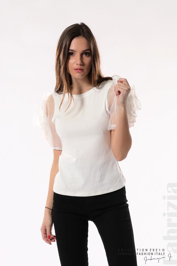 Памучна блуза с ръкави тюлени цветя бял 1 fabrizia