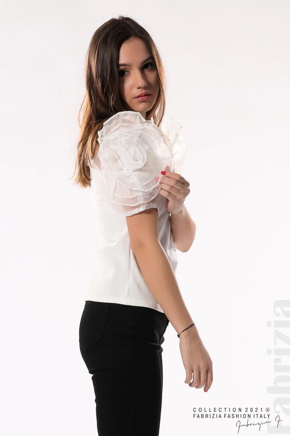 Памучна блуза с ръкави тюлени цветя бял 3 fabrizia