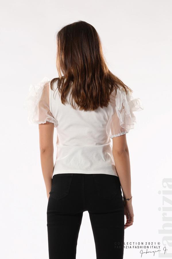 Памучна блуза с ръкави тюлени цветя бял 6 fabrizia