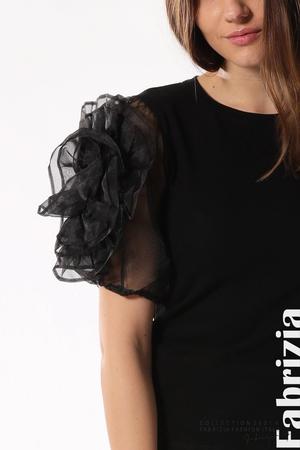 Памучна блуза с ръкави тюлени цветя