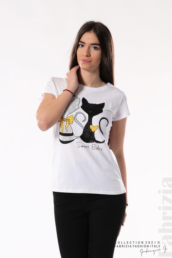 Блуза с котки Sweet Baby черен 2 fabrizia