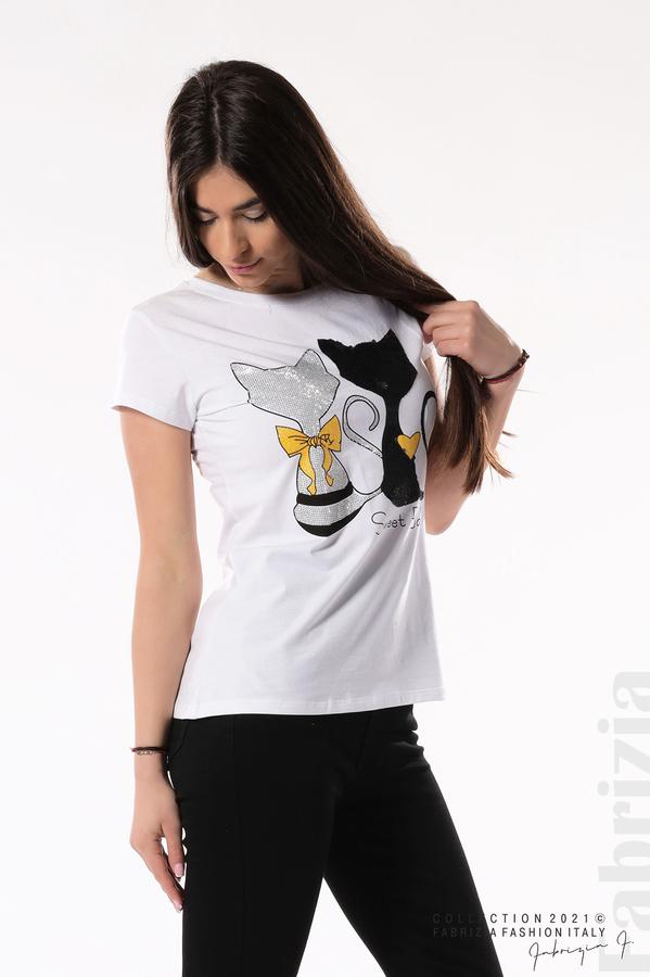 Блуза с котки Sweet Baby бял/черен 3 fabrizia