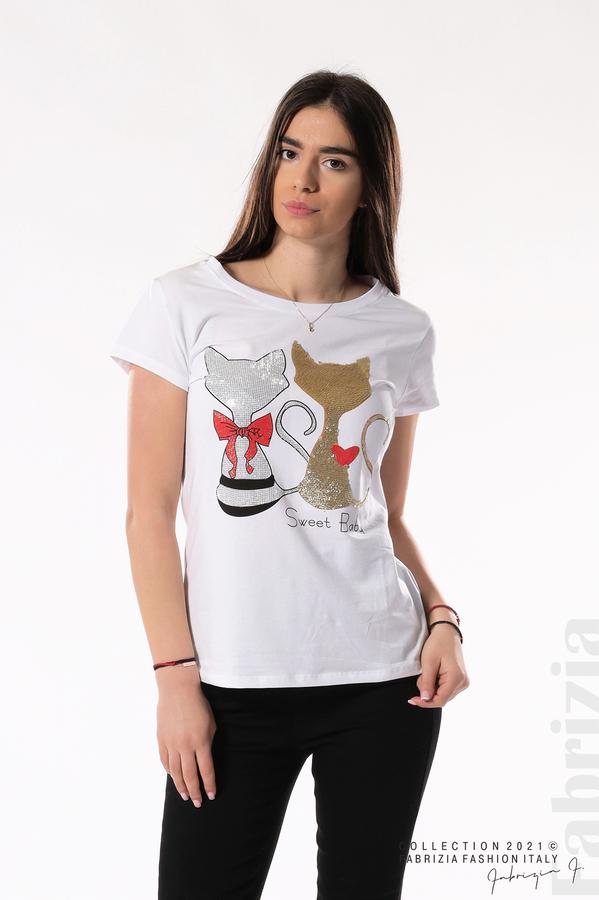 Блуза с котки Sweet Baby бял/златист 1 fabrizia