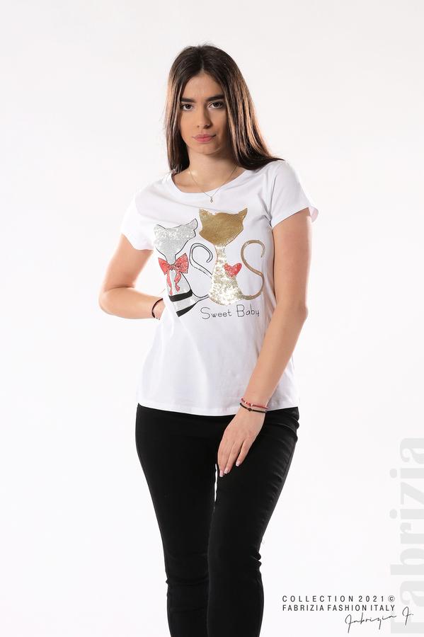 Блуза с котки Sweet Baby бял/златист 3 fabrizia