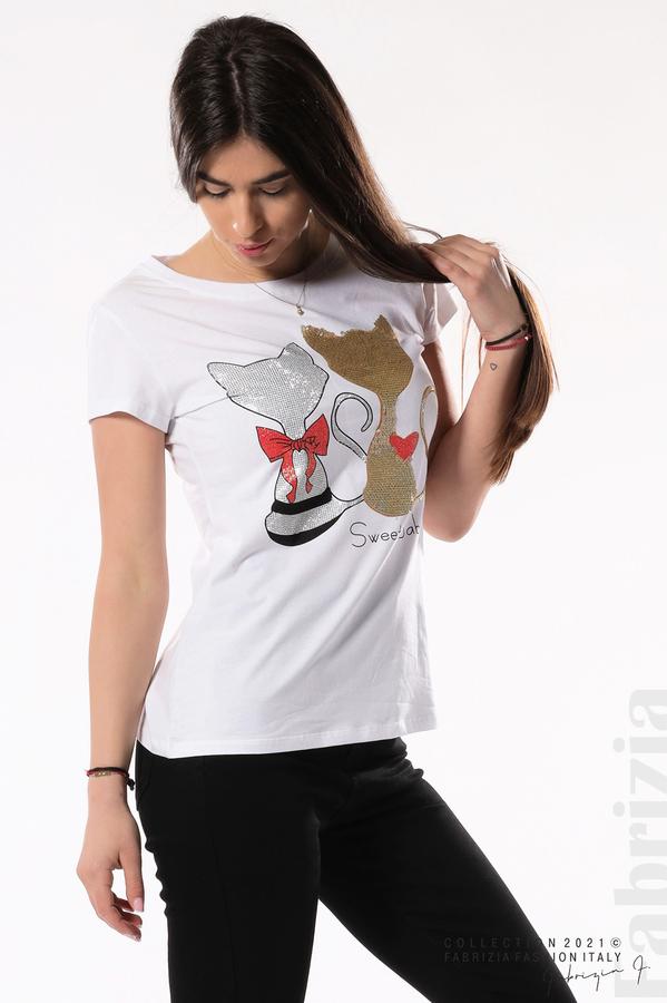 Блуза с котки Sweet Baby бял/златист 2 fabrizia
