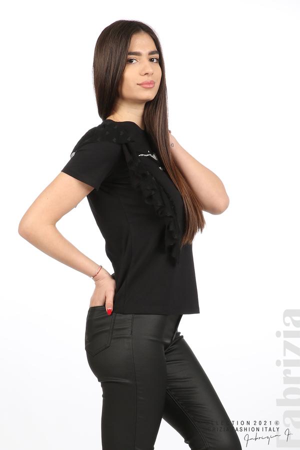 Блуза Yuorself с волани черен 5 fabrizia